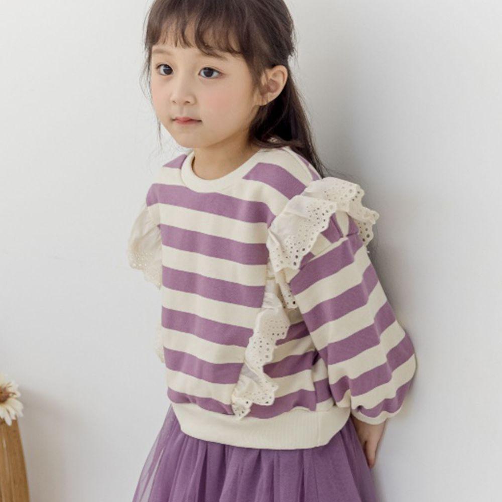 韓國 Orange Mom - 鏤空荷葉裝飾條紋T-紫