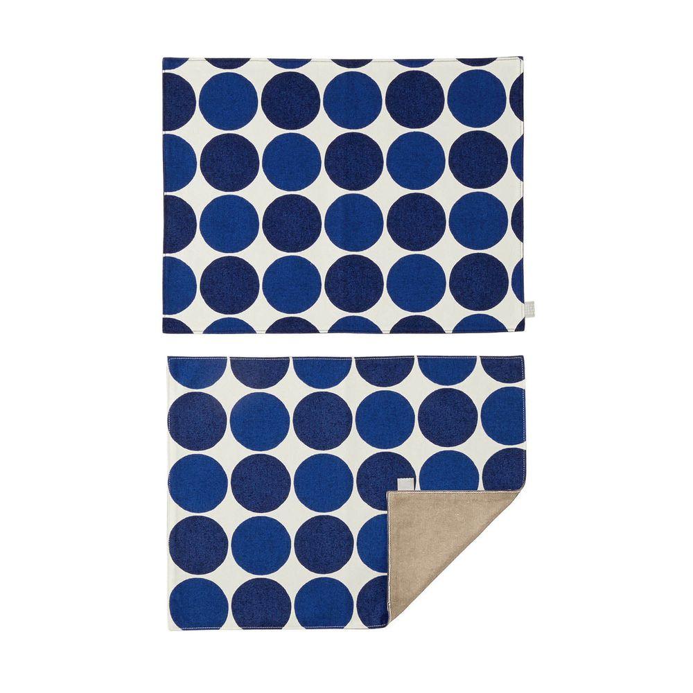 日本千趣會 - 日本製 純棉餐墊兩入組-普普圓點-深藍 (46x35cm)