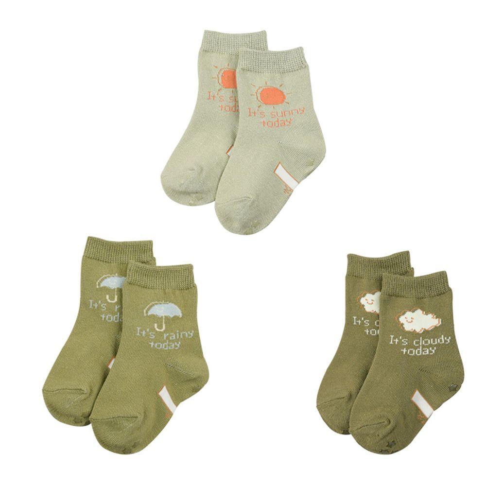 akachan honpo - 女中筒襪3雙組-天氣-綠色 (9~14cm)