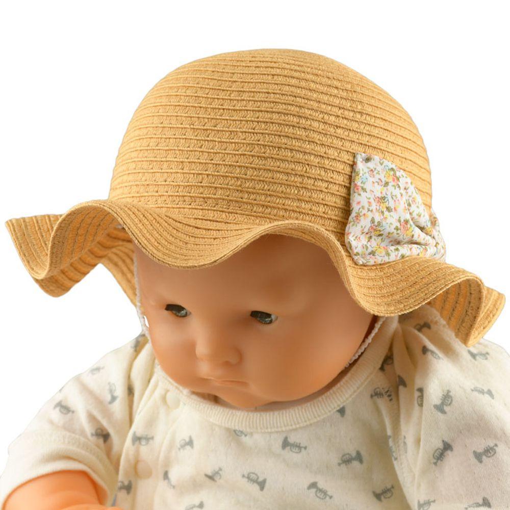 akachan honpo - 波浪邊帽-可清洗、折疊-咖啡色