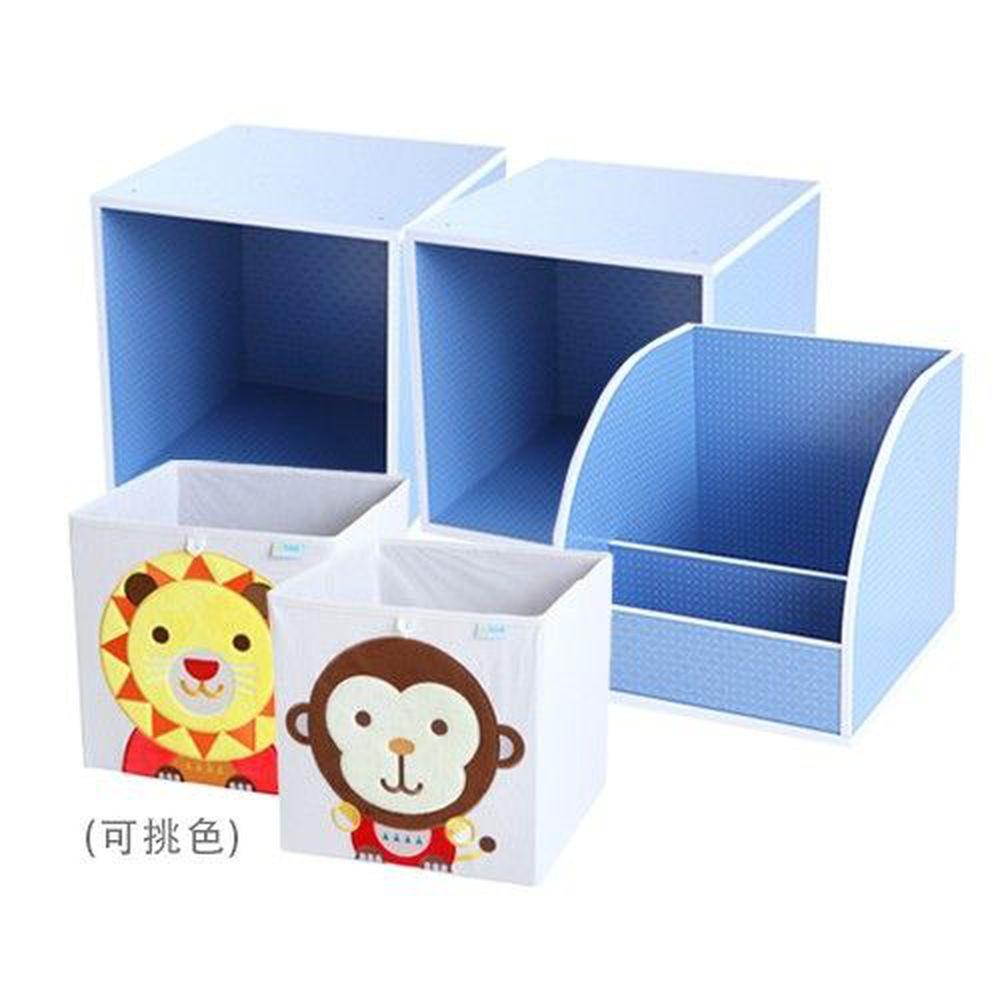 MyTolek 童樂可 - 點點藍5件優惠組-書架架*1+單框框*2+藏寶盒*2(請於備註欄標示指定花色)-藍 (33*33*33cm)