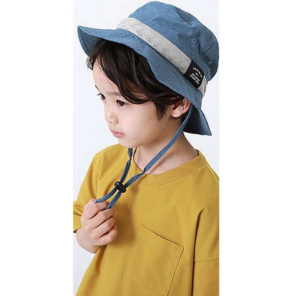 日本 devirock - 撥水加工抗UV可收納透氣兒童遮陽帽(附帽帶)-灰藍