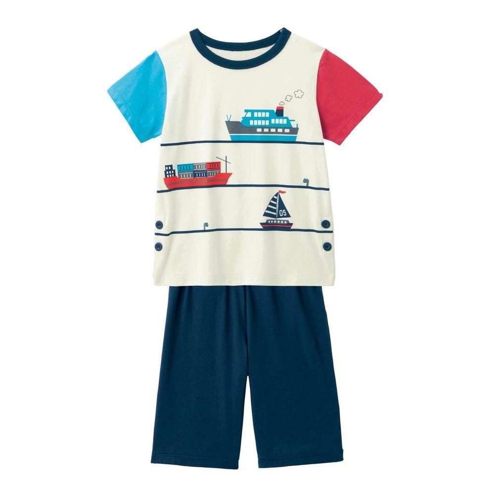 日本千趣會 - GITA 天竺棉舒適短袖家居服-海上船隻-藍白紅
