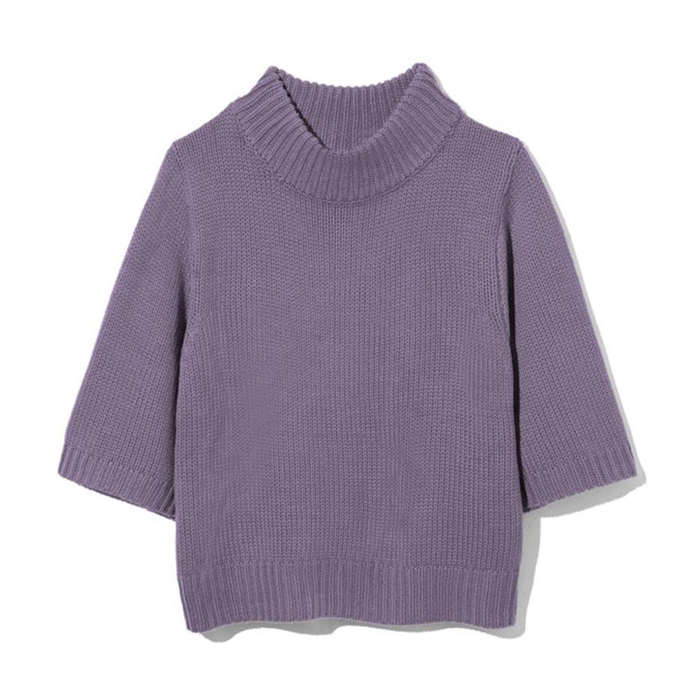 日本 GRL - 寬版顯瘦小高領七分袖針織上衣-紫