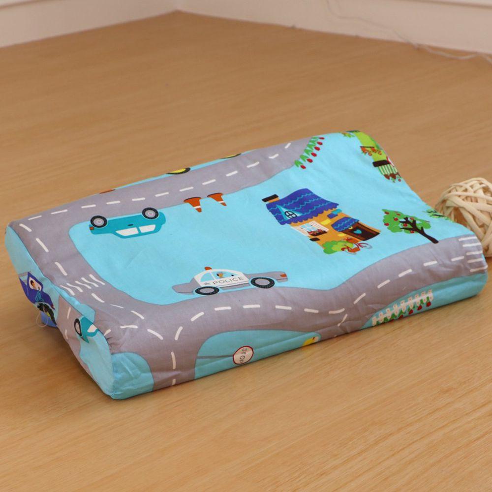鴻宇 HONGYEW - 防螨抗菌100%美國棉幼童護頸型天然乳膠枕-交通樂園-1778