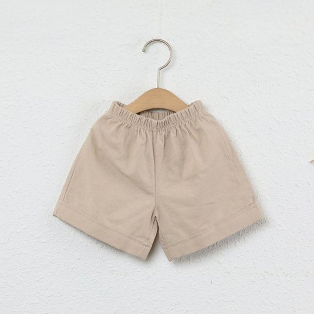 韓國製 - 水洗加工布鬆緊褲頭短褲-杏