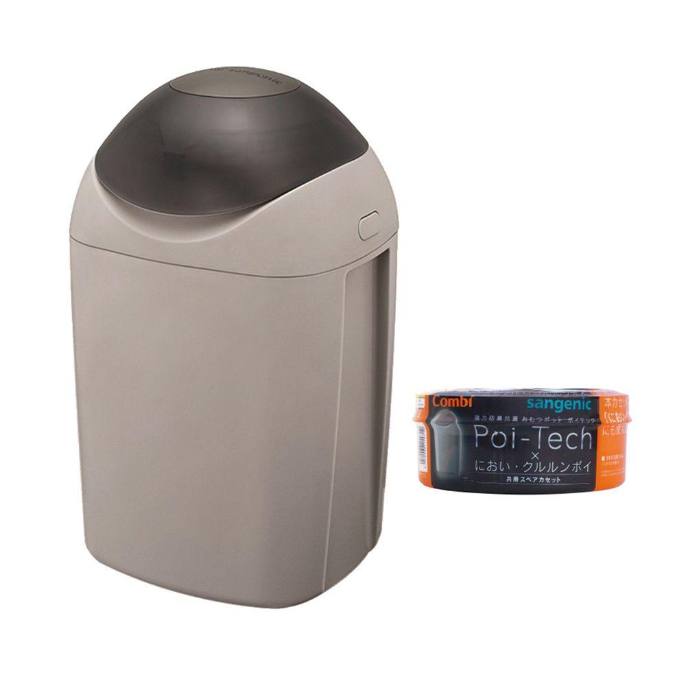 日本 Combi - Sangenic Poi-Tech 尿布處理器-溫暖灰-附專用衛生抗菌膠膜捲-柑橘香x1入組