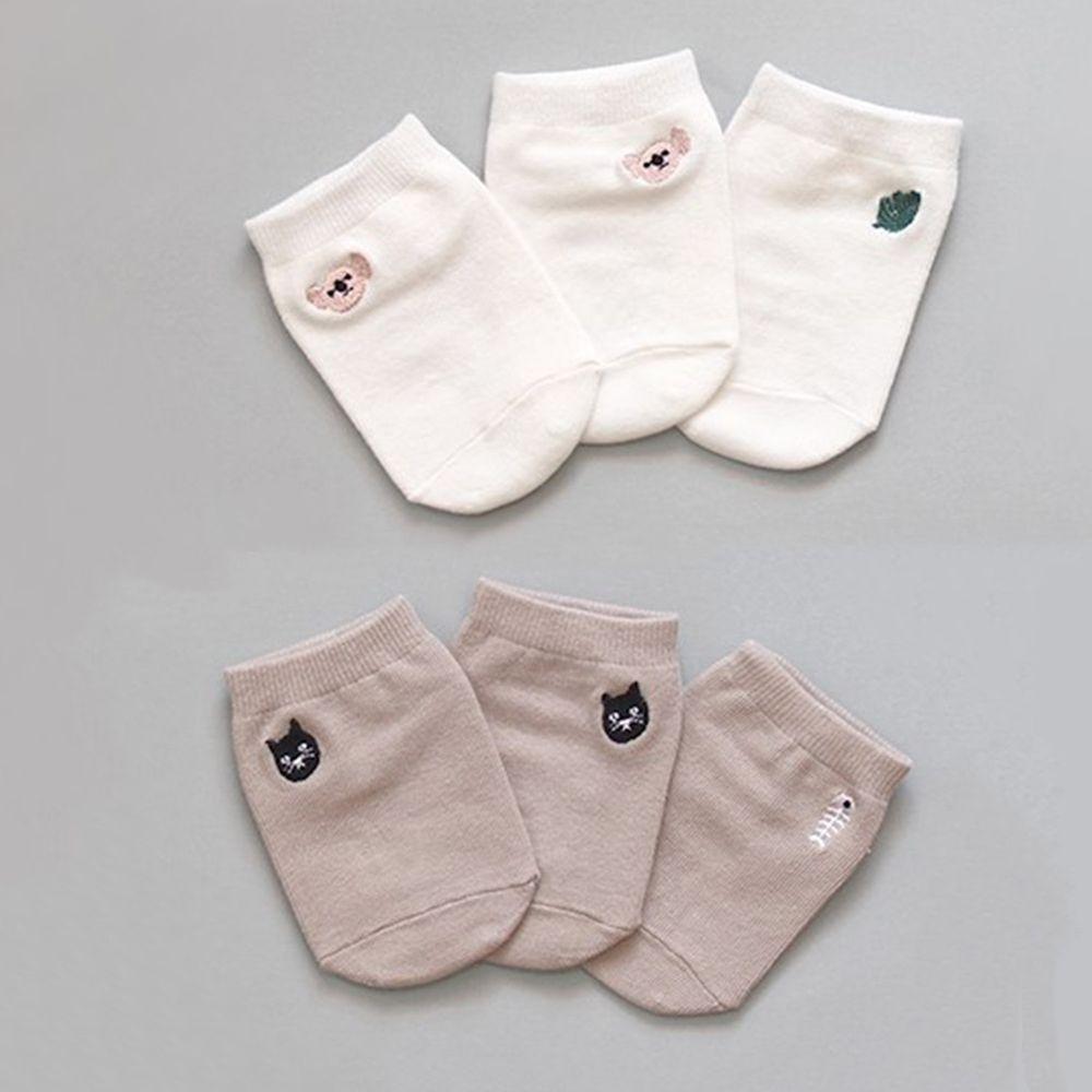 韓國 Kokacharm - 韓國製船型襪-2+1件組-Koala & Cat