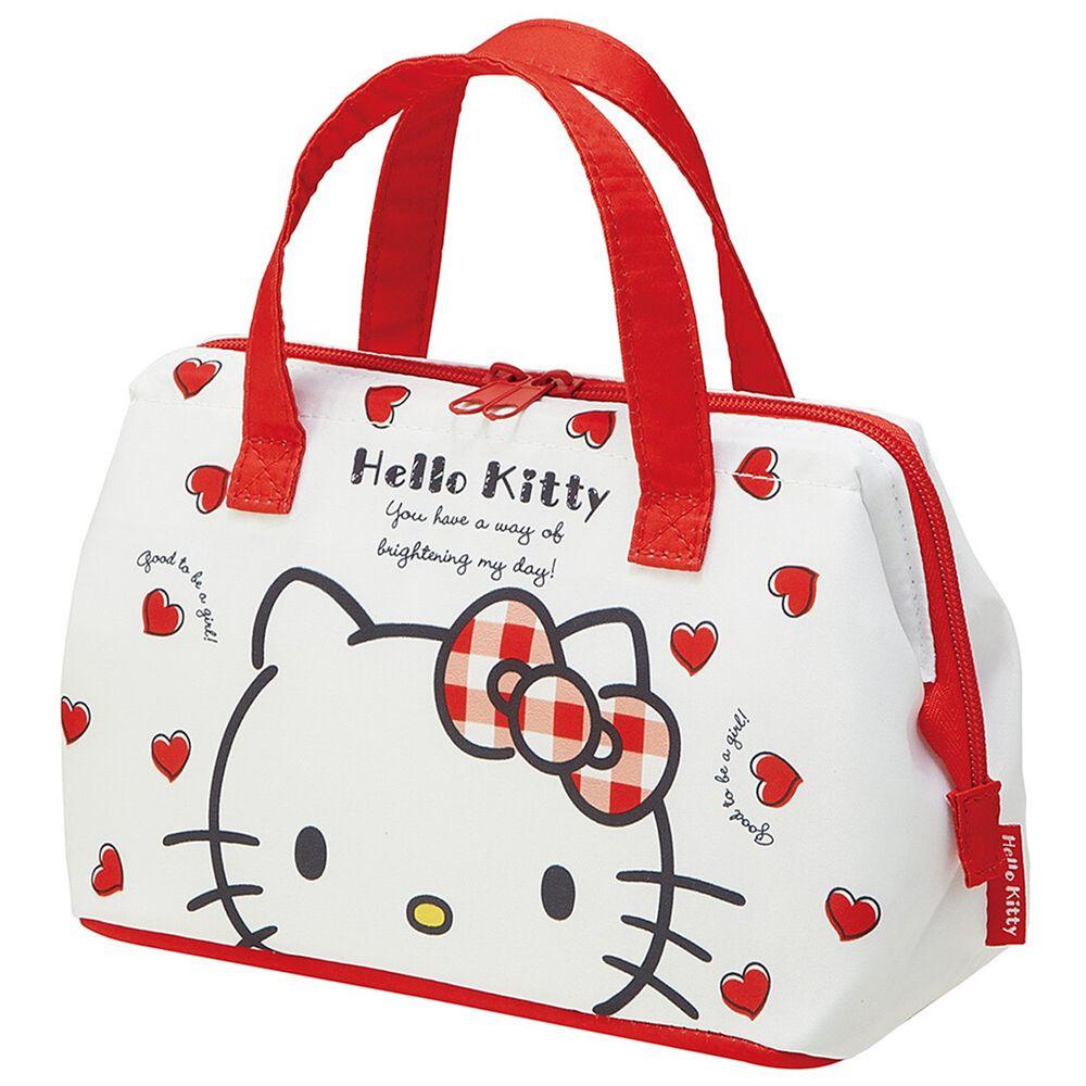日本 SKATER 代購 - 保溫保冷手提便當袋-Hello Kitty 愛心 (16x22x12cm)-KGA1