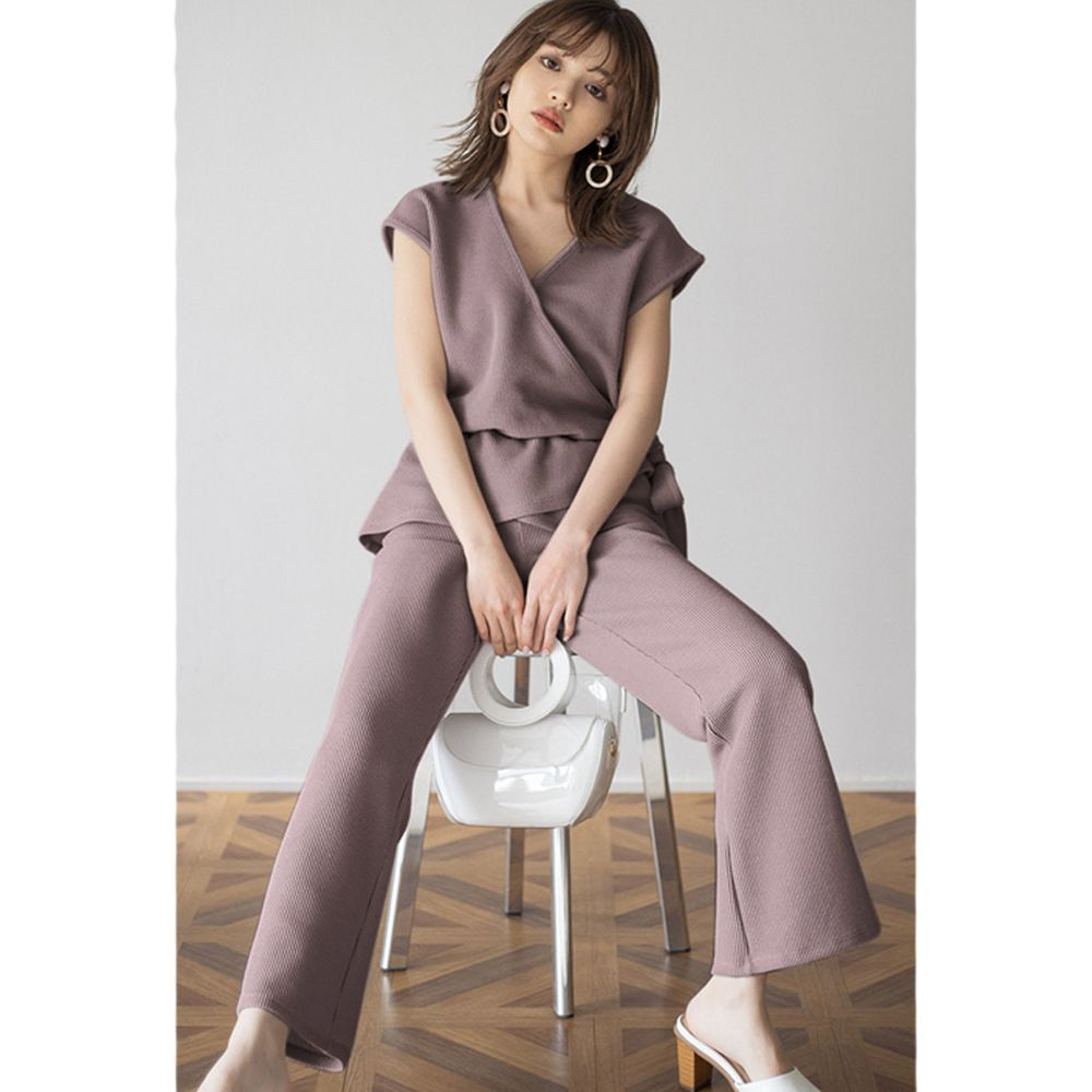 日本 GRL - 交叉荷葉綁帶背心X長褲套裝-知性棕