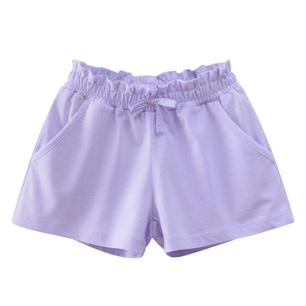 花邊鬆緊純棉短褲-淺紫色