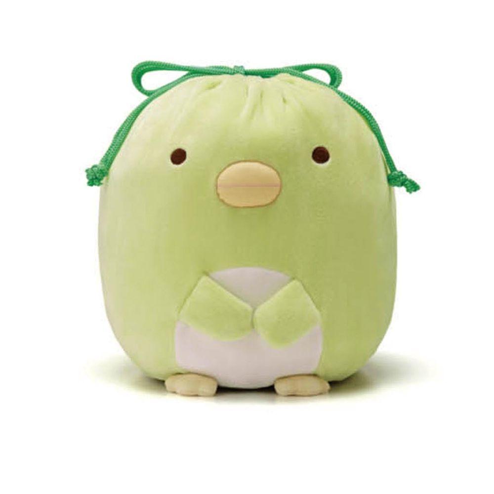 日本千趣會 - 角落生物 彈性伸縮球型束口收納袋-偽企鵝-綠 (L(最大約35x23x15cm))