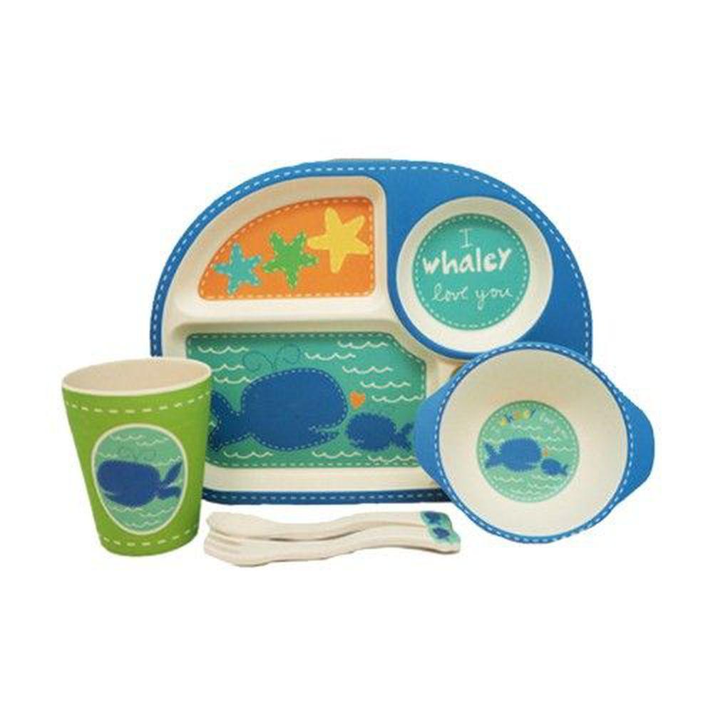 coeco - 竹纖維兒童經典五件組-藍色鯨魚款