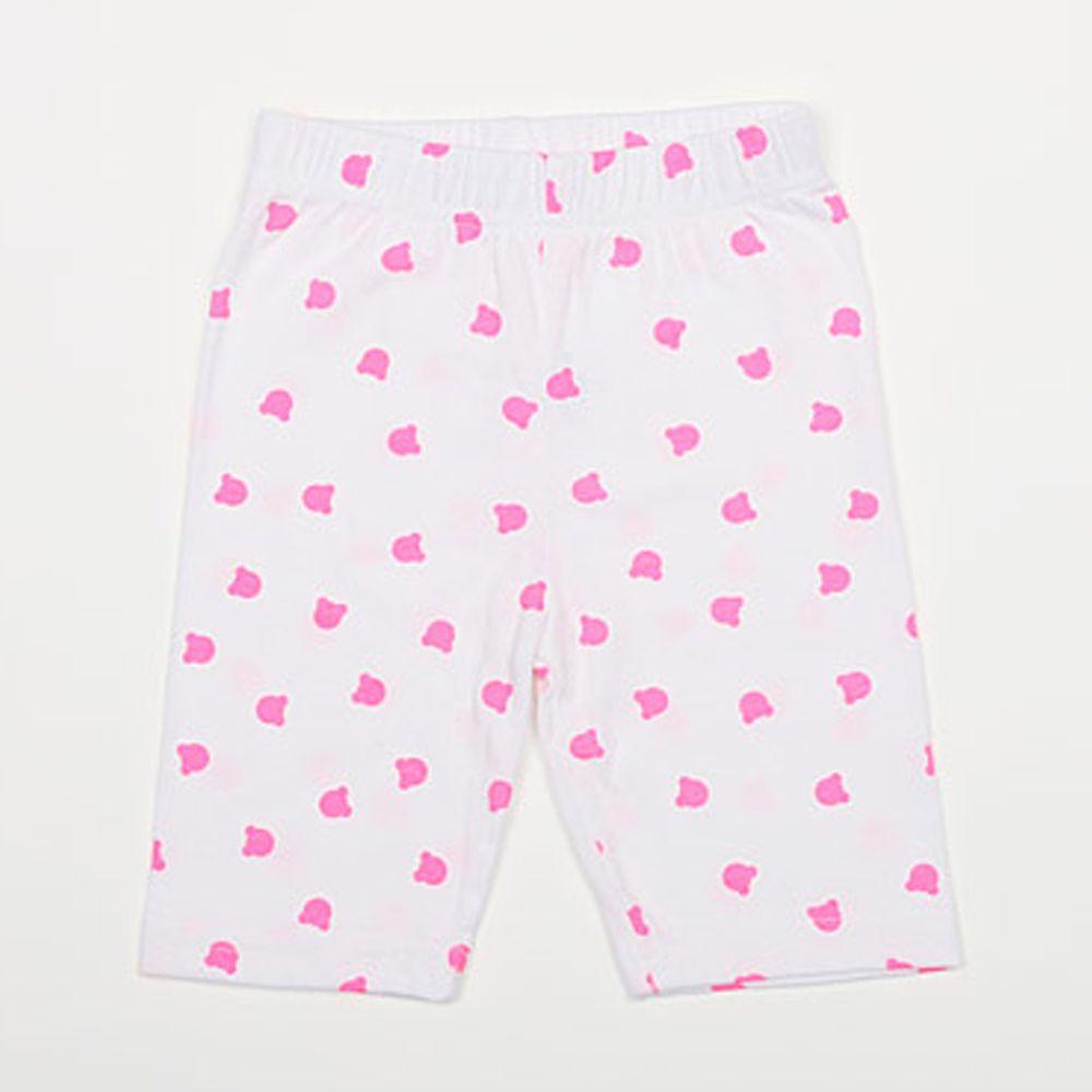 韓國 Rainbowkids - 30支純棉熊熊5分內搭褲-粉紅