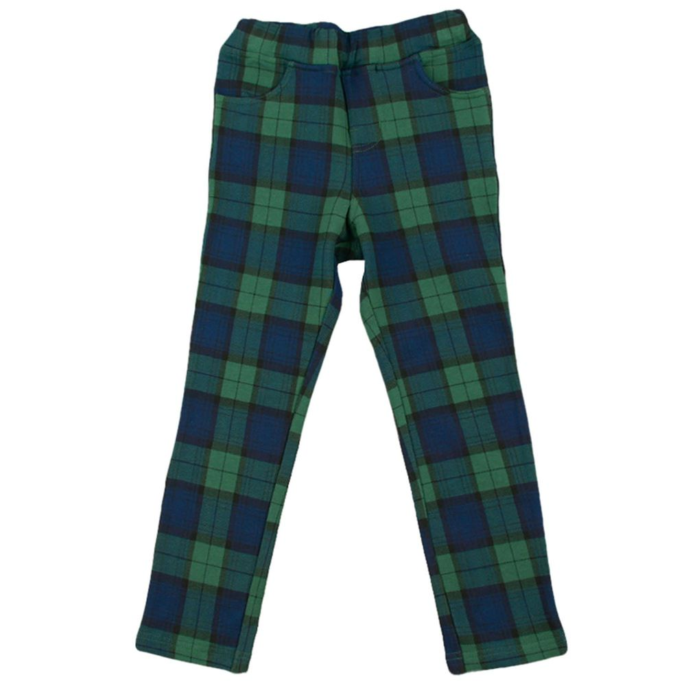 akachan honpo - 10分彈性褲-花紋-綠色