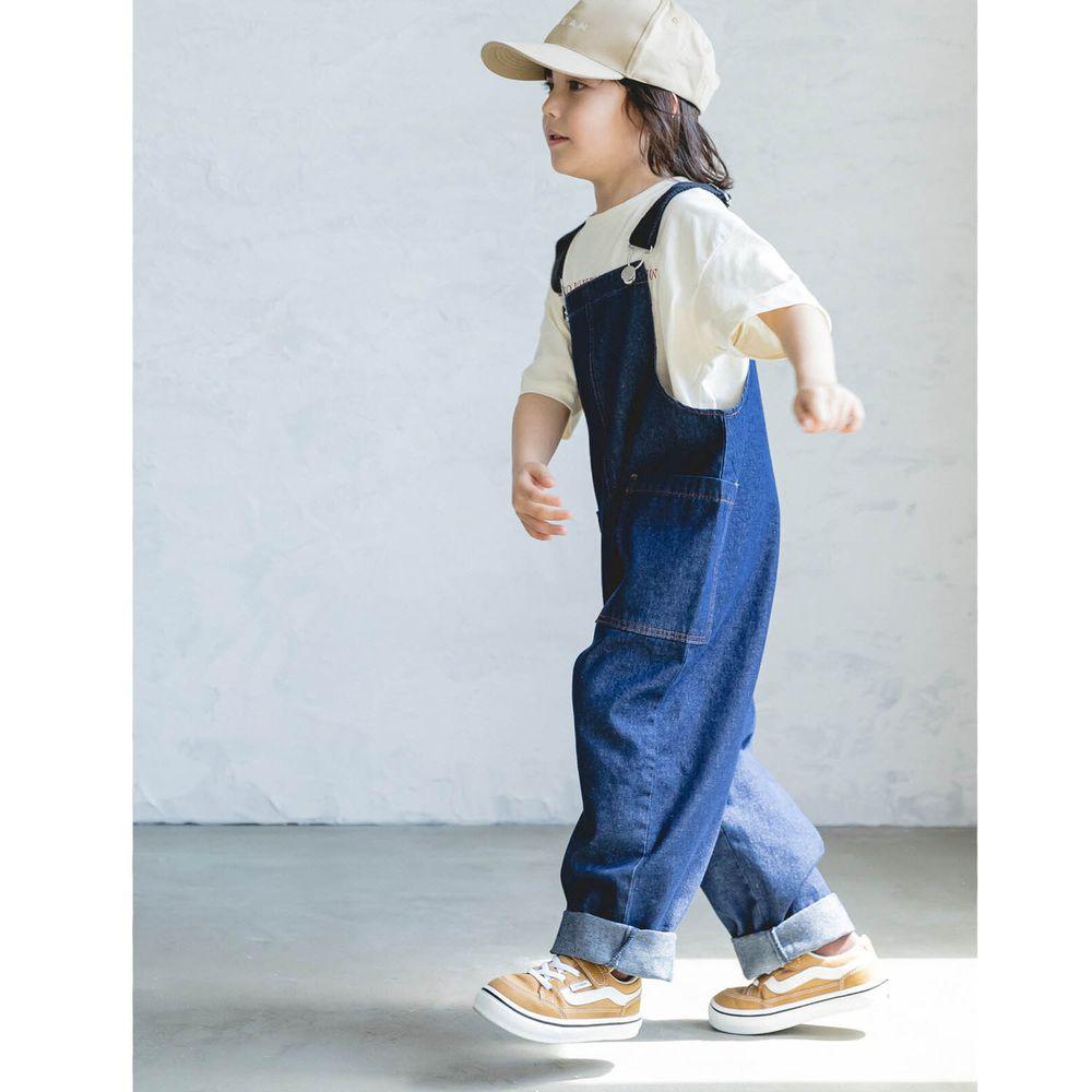 日本 PAIRMANON - 純棉雙口袋吊帶褲(孩子)-深藍