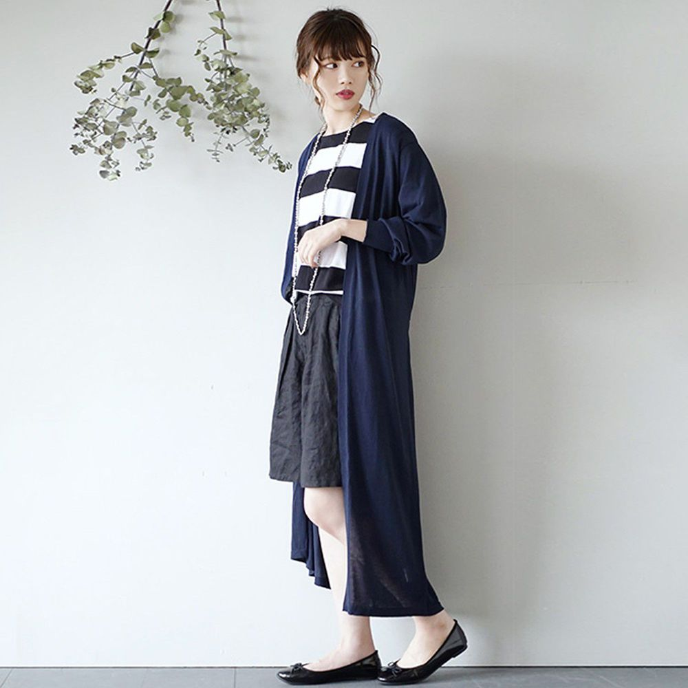 日本 zootie - 涼感X防曬速乾 綁帶長版罩衫/外套-海軍藍