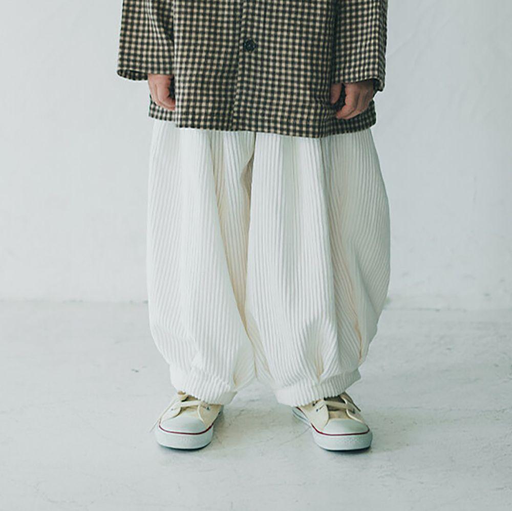 日本 riziere - 舒適燈芯絨燈籠長褲-純淨白