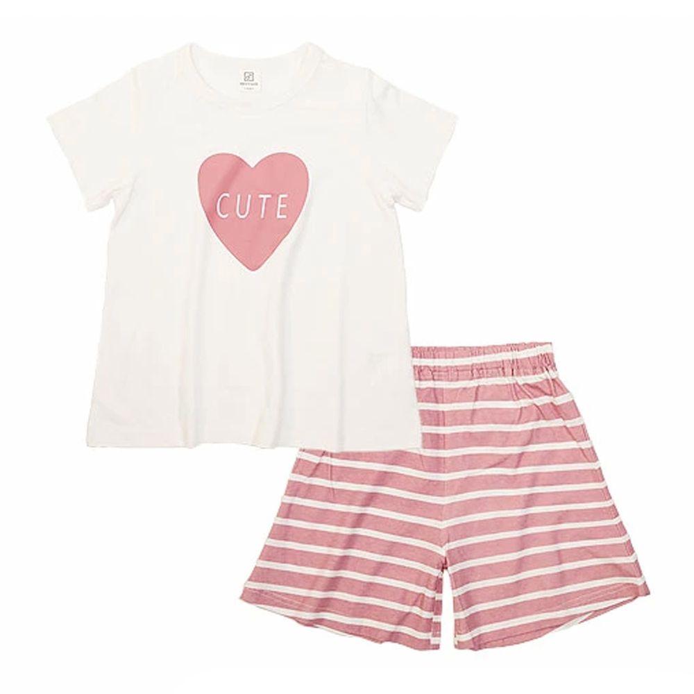 日本 devirock - 純棉短袖家居服-大愛心-白X粉