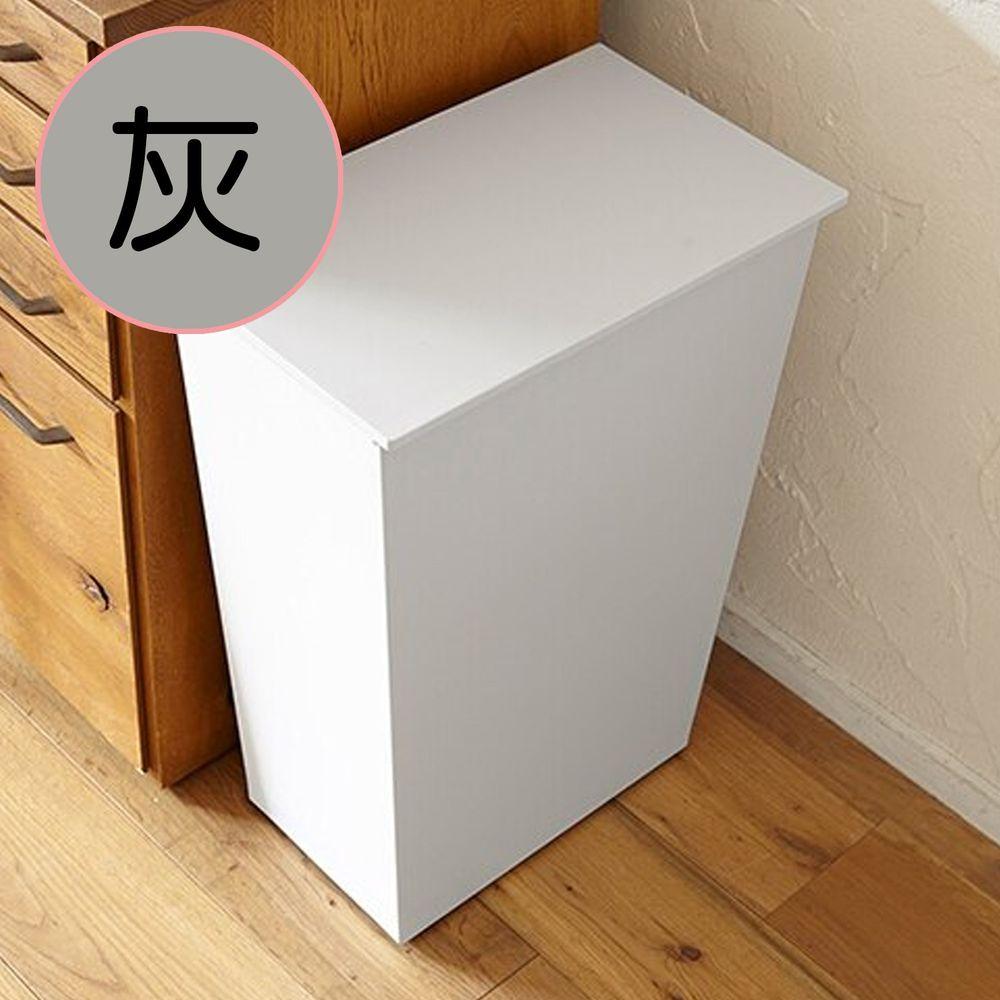 日本岩谷Iwatani - 日本製寬型可分類掀蓋式垃圾桶(附輪)-36L-灰