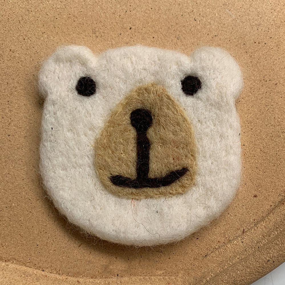 可愛動物造型羊毛氈杯墊-小白熊