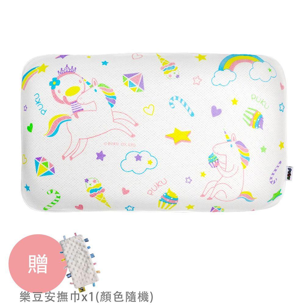 PUKU 藍色企鵝 - Air成長型3D幼童枕-彩虹馬-買贈樂豆安撫巾*1(顏色隨機)