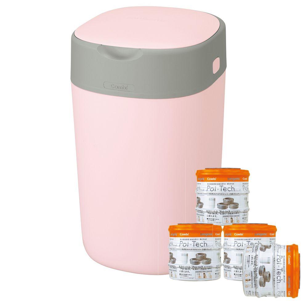 日本 Combi - Poi-Tech Advance 尿布處理器-專用膠膜捲量販箱購超值組-3入x4-玫瑰粉