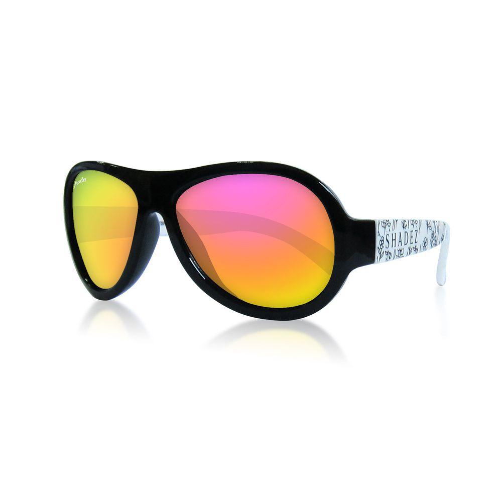 SHADEZ - 可彎折嬰幼兒時尚太陽眼鏡-黑白花朵 (3Y~7Y)