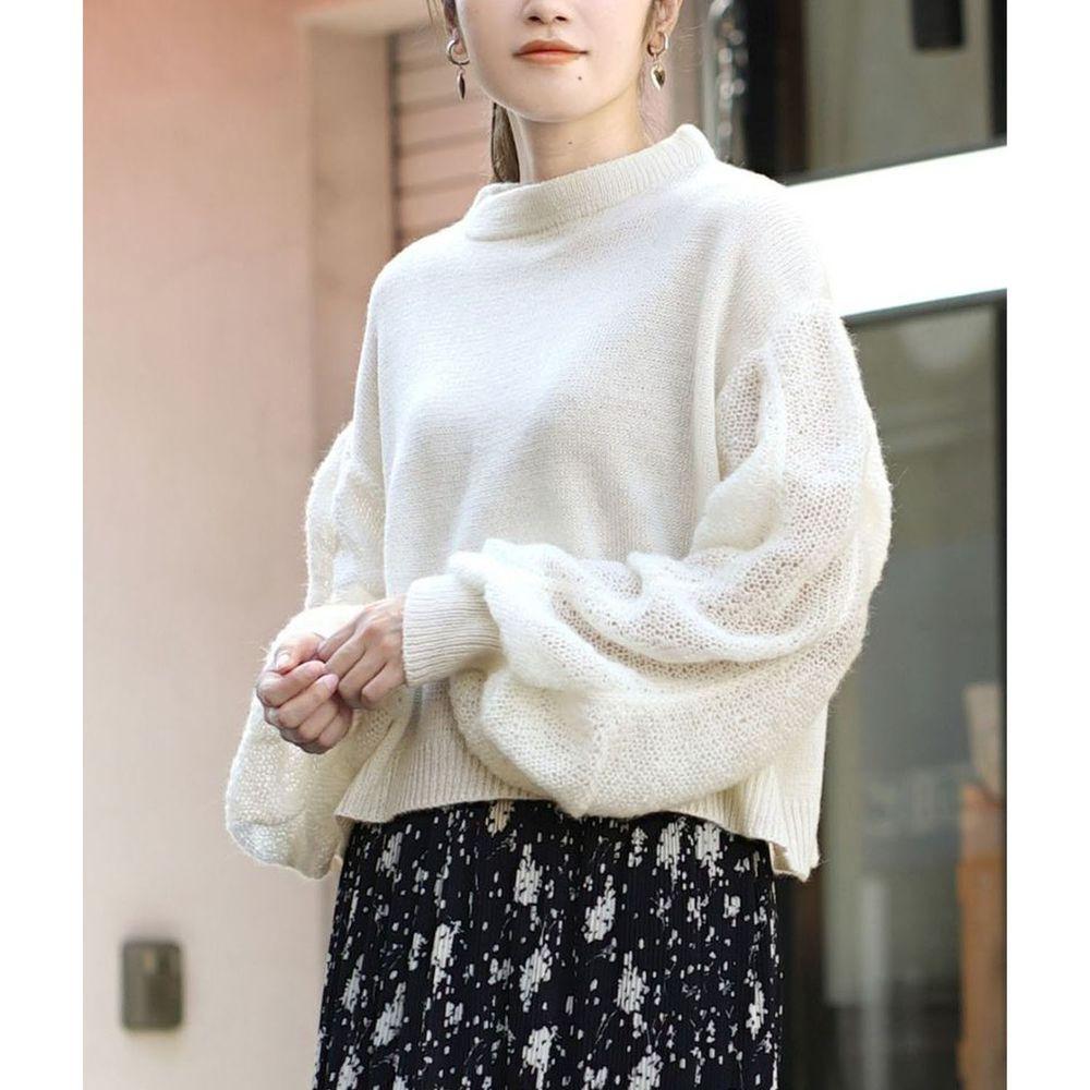 日本 zootie - 透膚泡泡寬鬆短版針織上衣-白