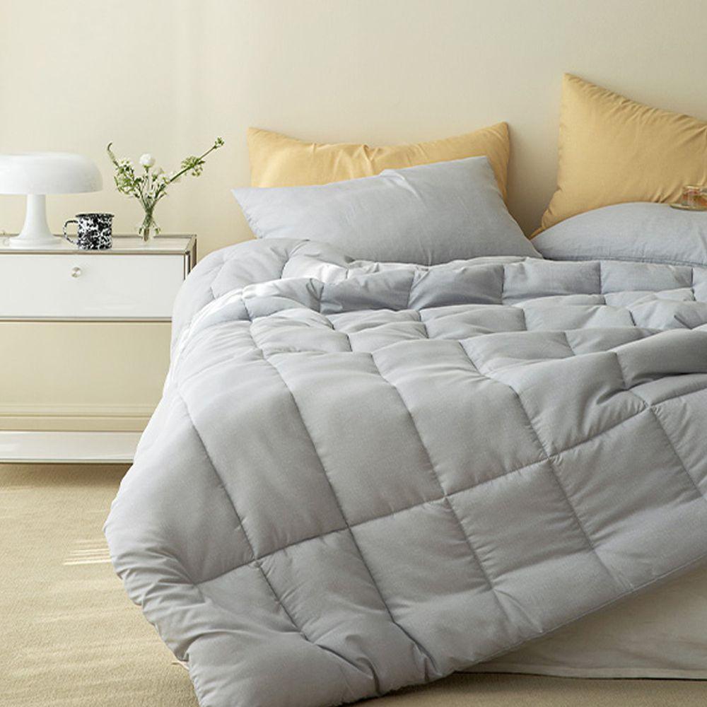 韓國製 - 可水洗超細纖維桃皮感棉被(無枕套)-石灰藍