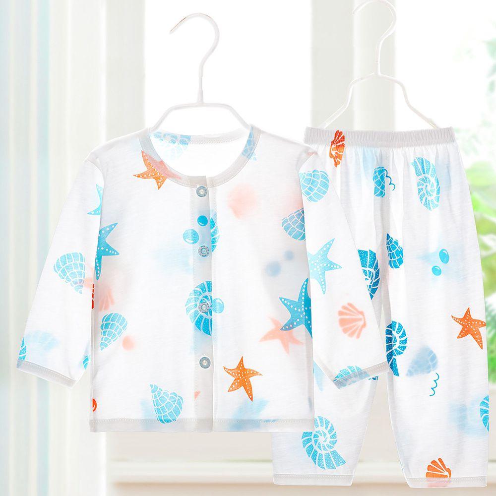 超薄款竹纖維睡衣家居服套裝-前開扣-海螺貝殼