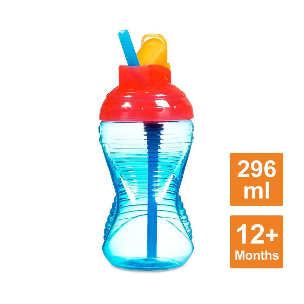美國 munchkin - 好握吸管防漏杯296ml-藍 (12M+)