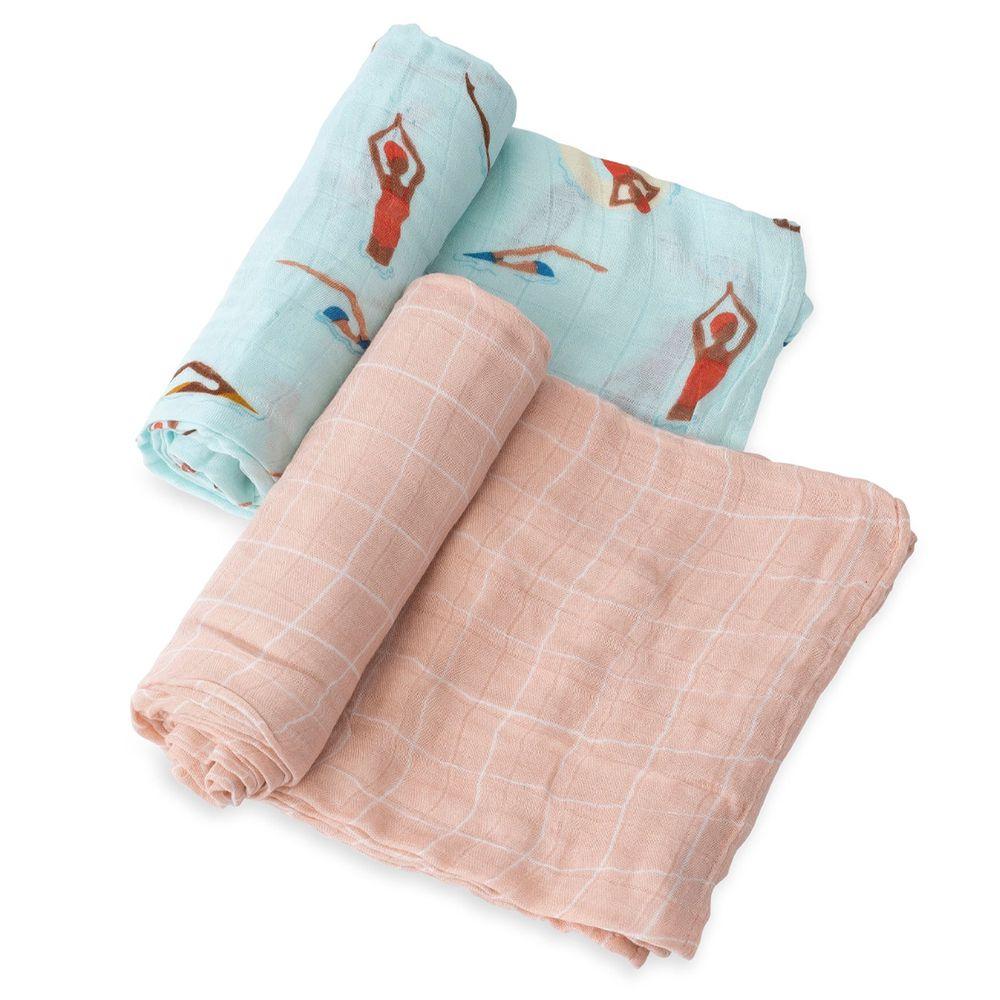 美國 Little Unicorn - 竹纖維紗布巾兩入組-游泳池畔 (120x120CM)