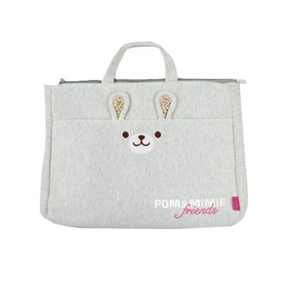 日本POM&MIMIE - 動物造型肩背包-兔兔-淺灰 (31x39x6(提袋9cm)、前口袋22x37cm)