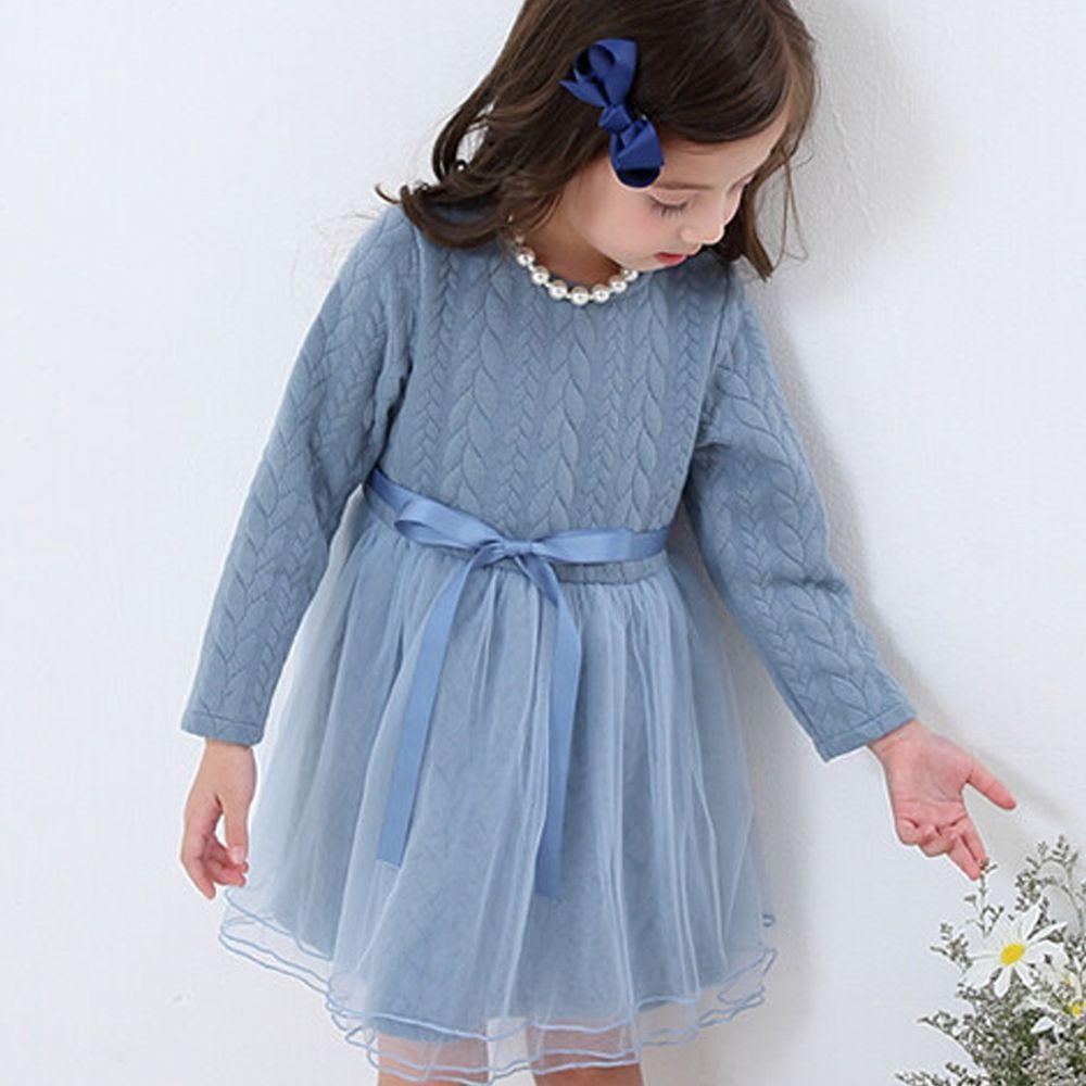 日本 Maison de Ravi - 針織紋拼接薄紗長袖洋裝-星塵藍