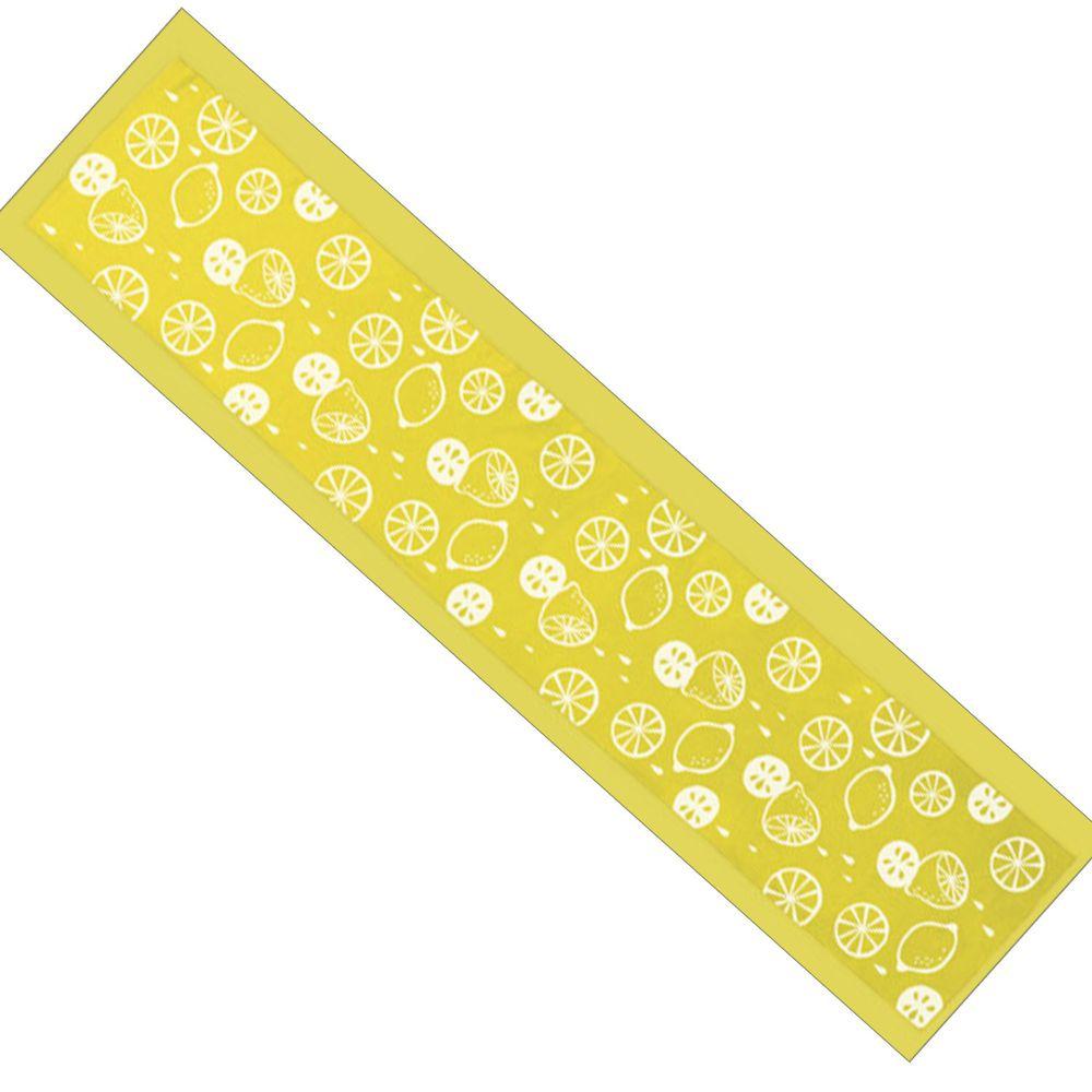 日本丸和 - 和柄小江戶水涼感巾(附收納袋)-檸檬-黃 (20x100cm)