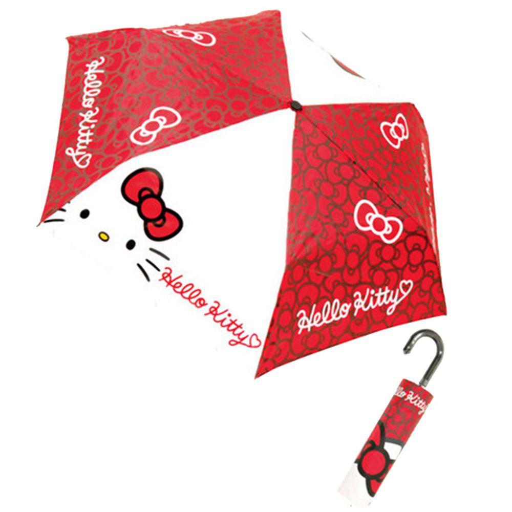 日本代購 - 卡通折疊雨傘-紅白Kitty (53cm(125cm以上))