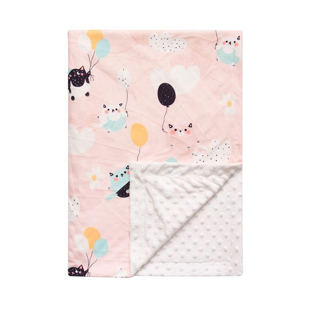 JoyNa - 雙層印花泡泡毯 嬰兒被被-氣球貓 (76*84cm)