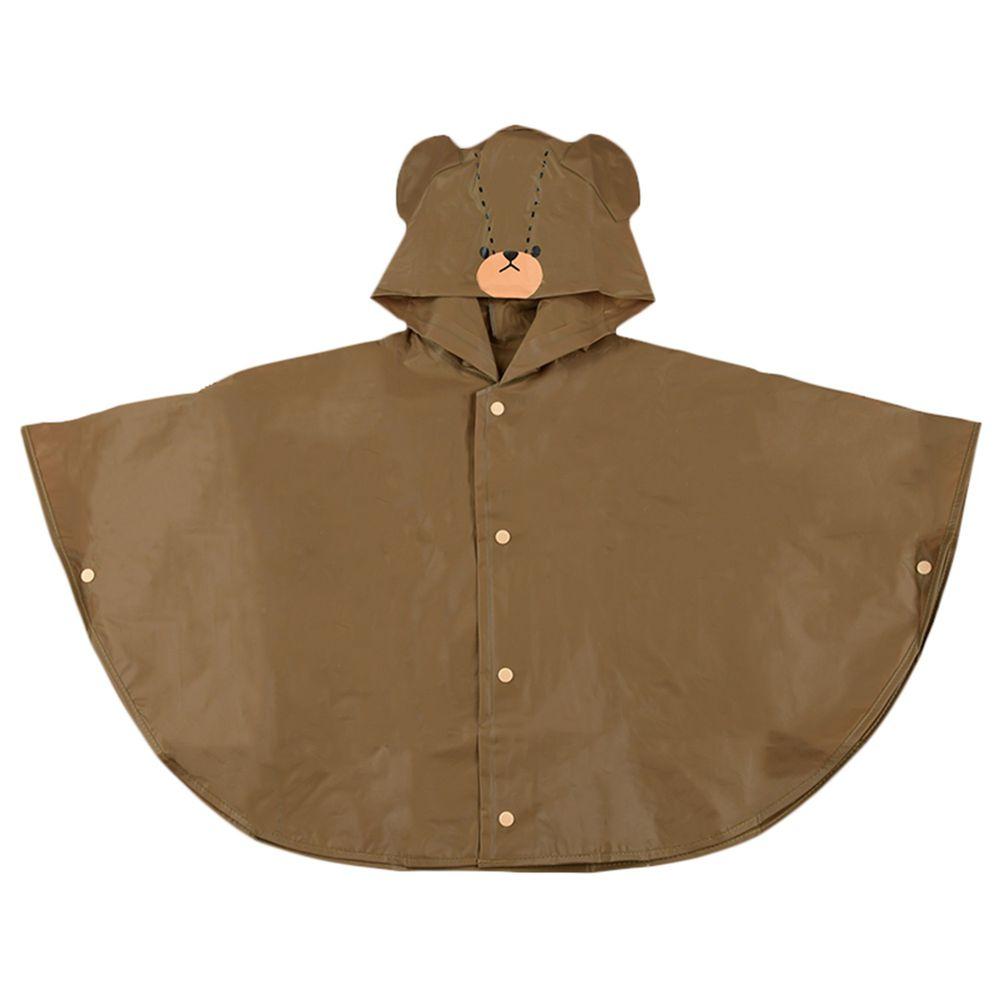 akachan honpo - 短斗篷式雨衣-小熊學校-咖啡色 (80-95cm)