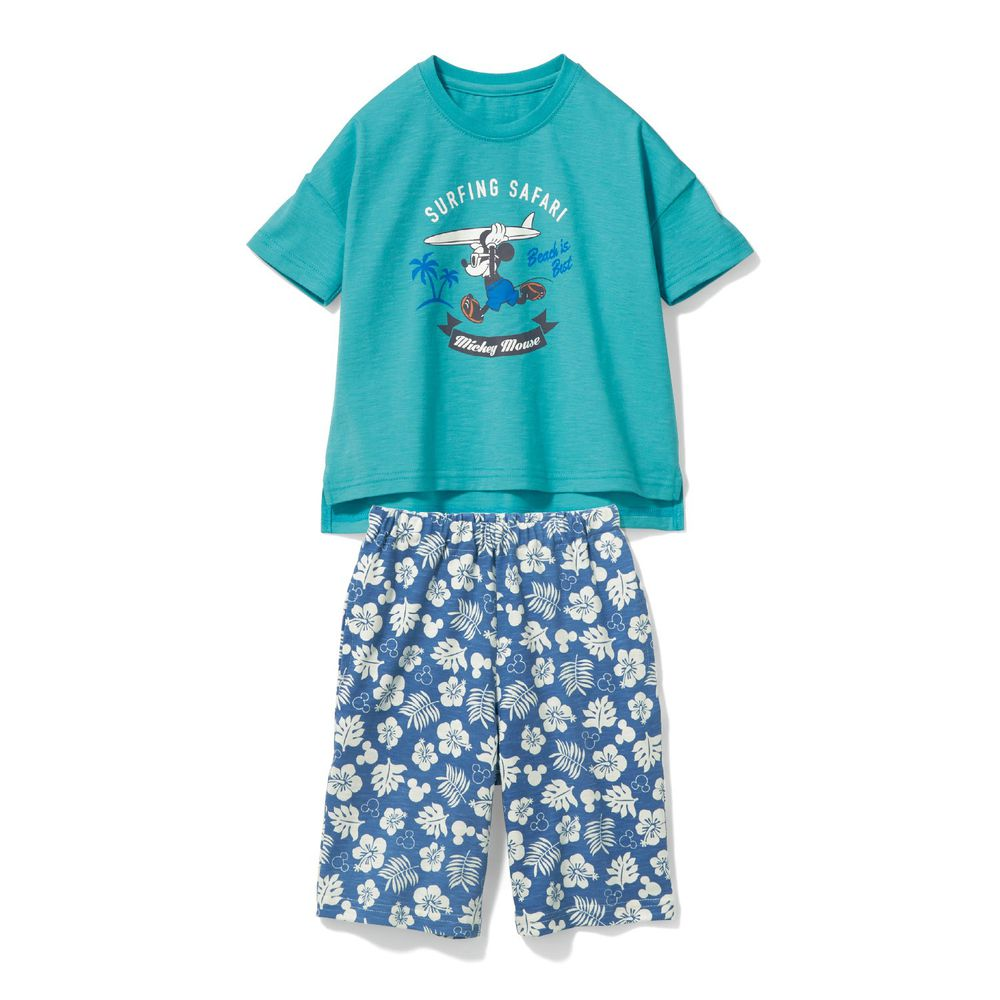日本千趣會 - 迪士尼純棉印花短袖家居服-衝浪米奇-水藍