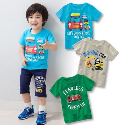 男孩個性圖案印花短袖T恤三件組-車+怪手+消防車-藍色+灰色+綠色