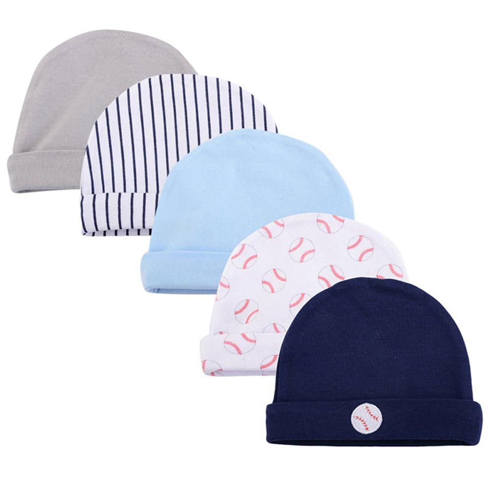 美國 Luvable Friends - 100%純棉新生兒棉帽 保暖帽5件組-棒球世界 (單一尺寸)