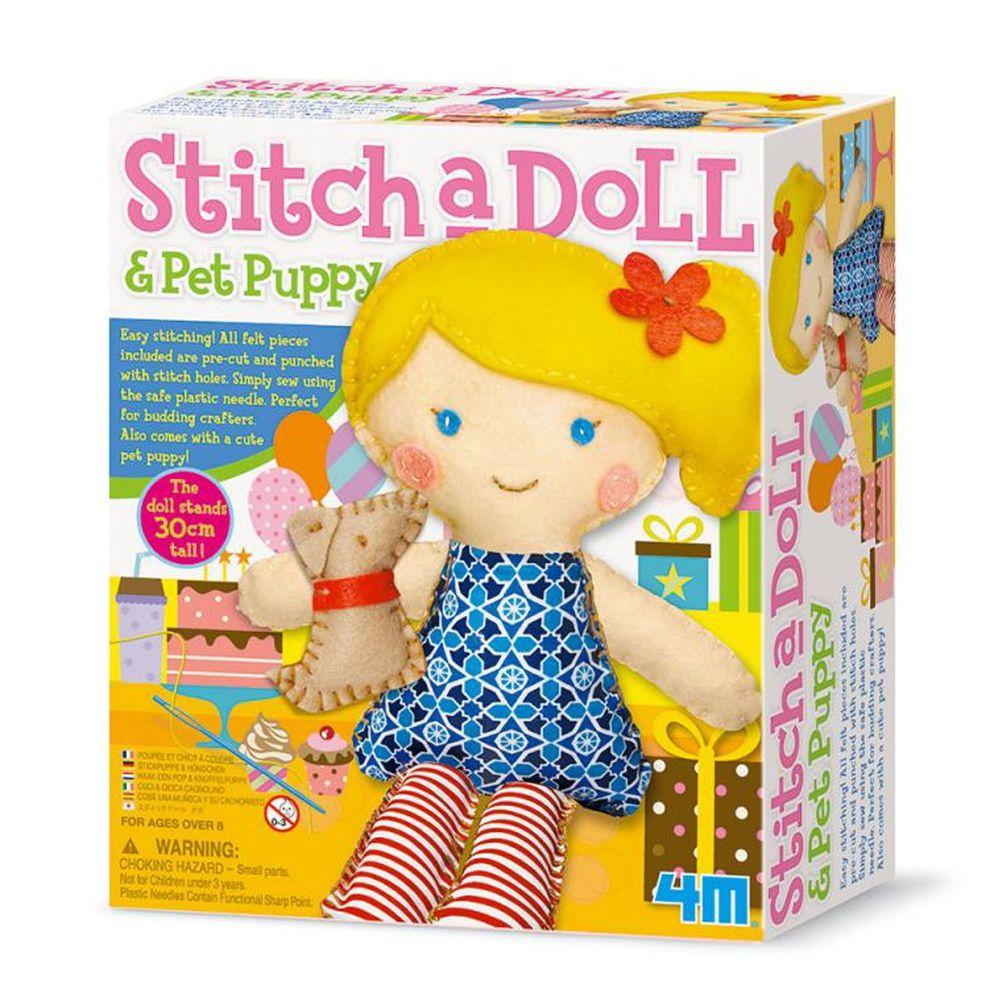 香港4M創意玩具 - 派對女孩與小狗Stich a Doll & Pet Puppy