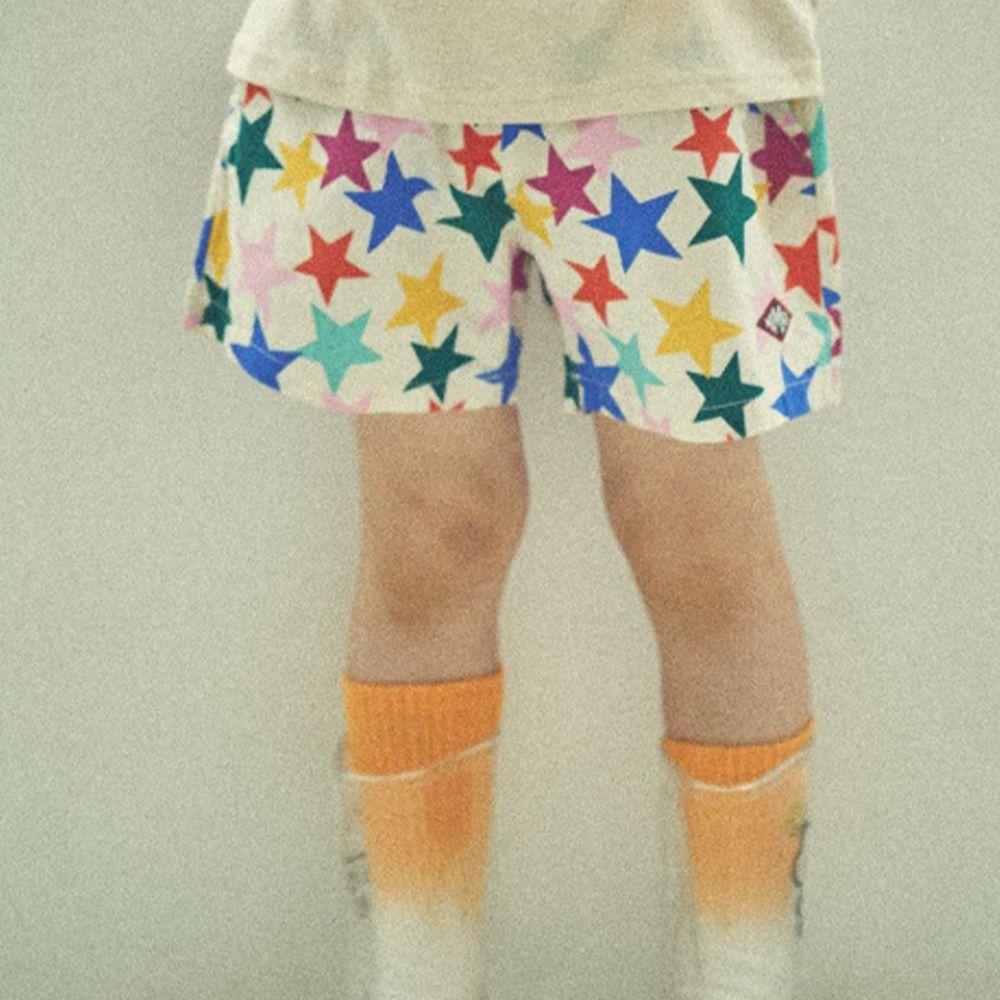韓國 Mimico - 彩色星星鬆緊褲頭短褲-象牙白