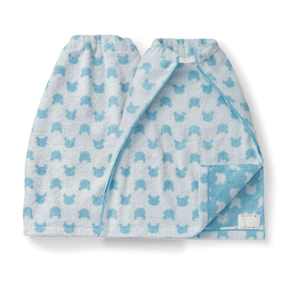 日本千趣會 - 毛巾圍兜2件組-熊熊-藍 (長(34x42.5cm(雙層)))