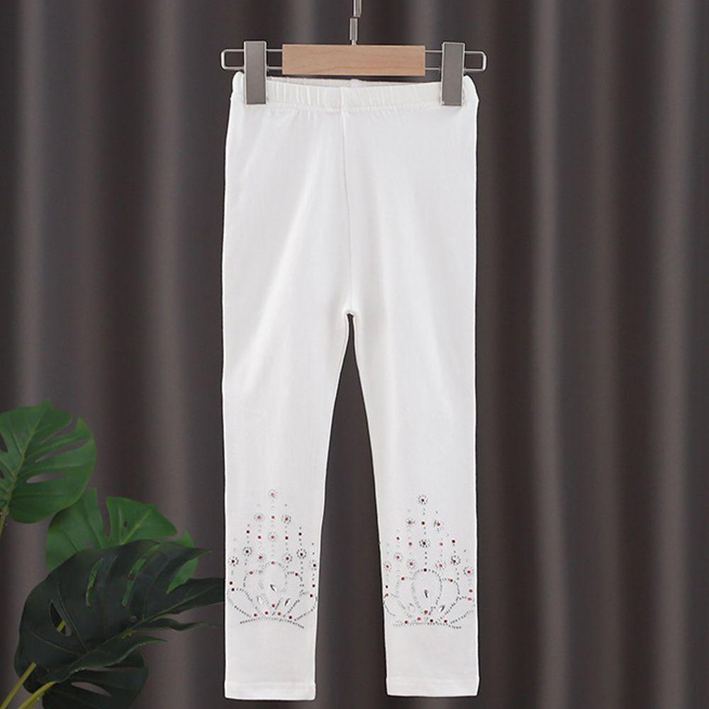 修身造型內搭褲-白色