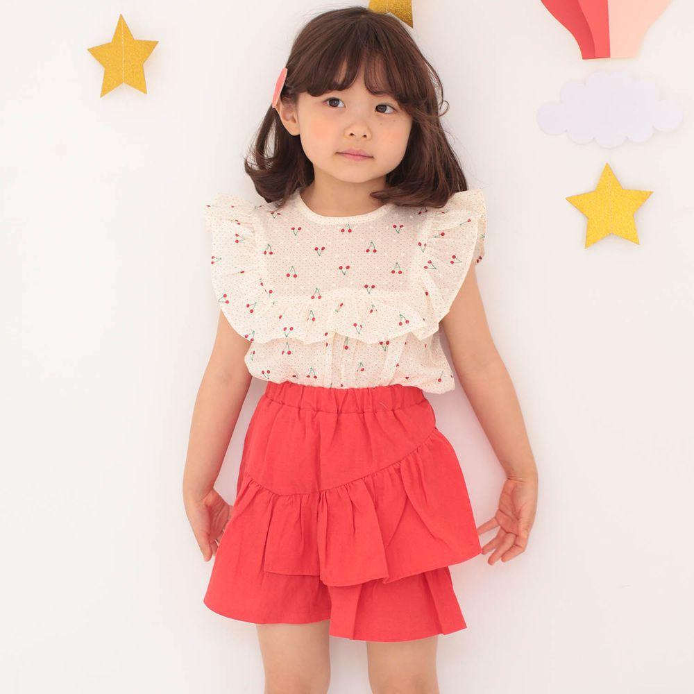韓國 Dalla - 荷葉方領無袖上衣+不對稱荷葉褲裙套裝-櫻桃上衣+紅裙