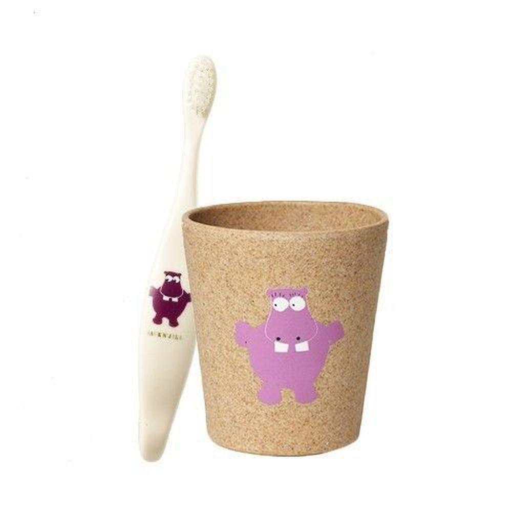 澳洲 Jack N' Jill - 河馬刷牙組-植物牙刷x1+漱口杯x1