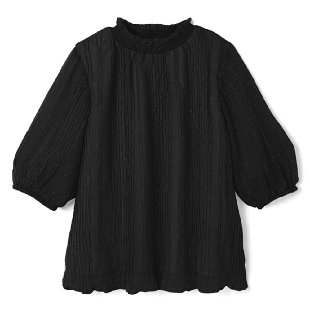 日本 GRL - 滿天星點抓皺設計五分袖上衣-時尚黑
