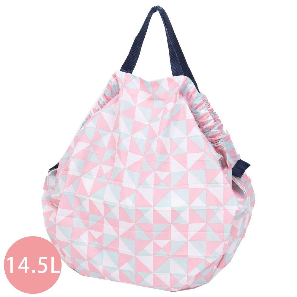日本 MARNA - Shupatto 秒收摺疊購物袋-粉色幾何 (M(30x35cm))-耐重5kg / 14.5L